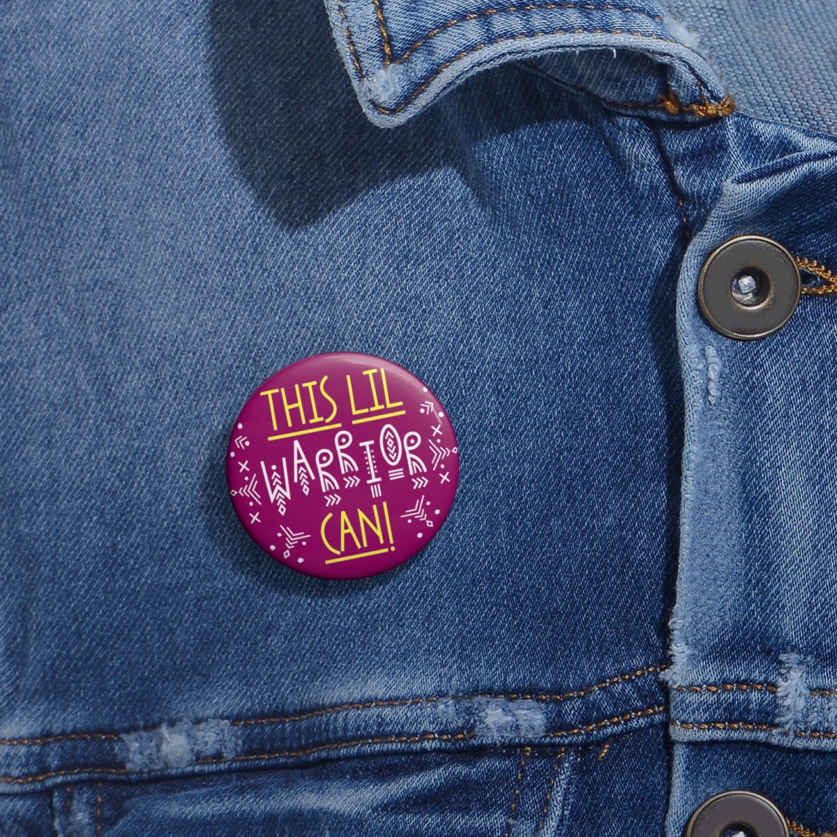 Pink Camo 'This Lil Warrior Can!' 3 Metal Pin Buttons - skyrockettees