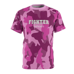 Pink Camo Fighter Forever Unisex All Over Print (AOP) Tee - skyrockettees