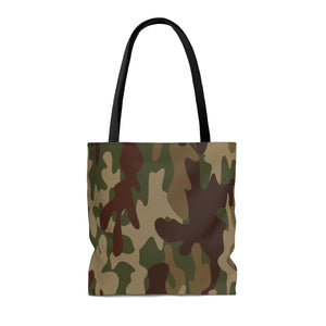 Personalized Camo Tote, Green Brown Tan, AOP - skyrockettees