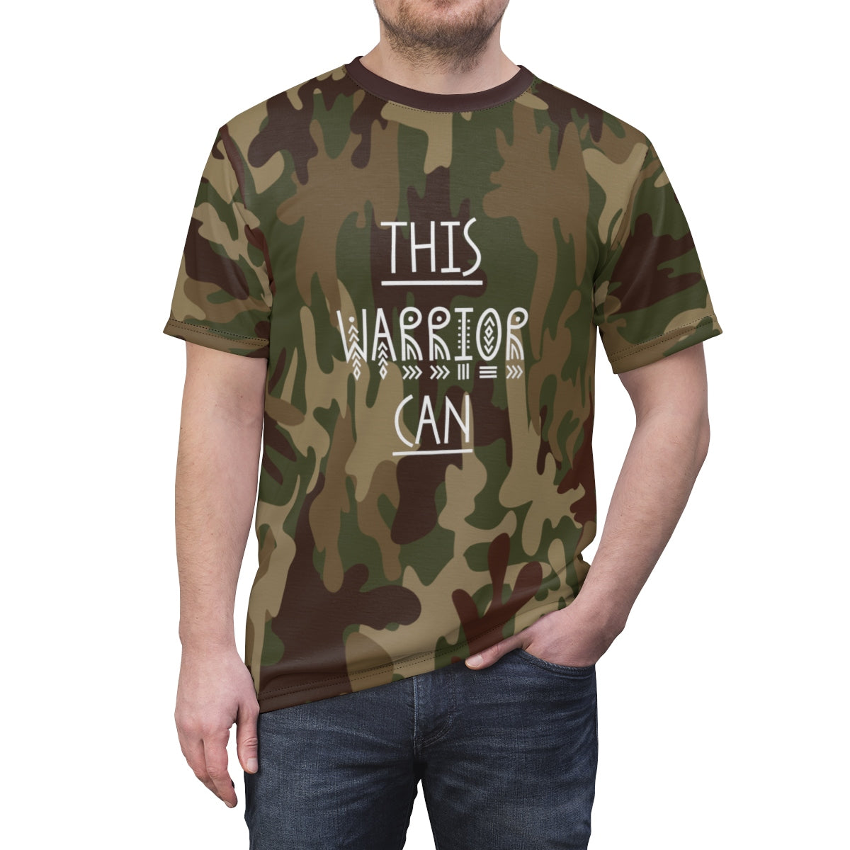 Camo T-shirt, This Warrior Can Camouflage Unisex AOP - skyrockettees