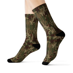 Camo Socks, Camouflage Green, Brown, Tan, AOP Sublimation - skyrockettees