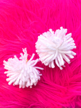 white pom earrings