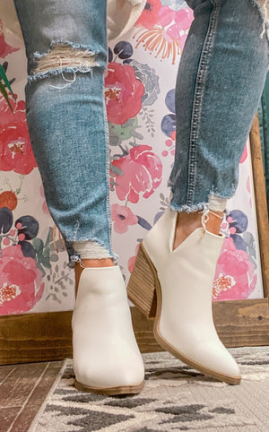 Reckless Runaway White Bootie