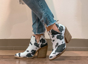 Seen But Not Herd Cow Print Bootie