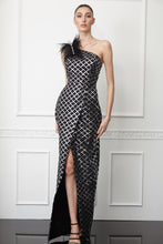 Load image into Gallery viewer, Print sequined crepe single sleeve maxi dress