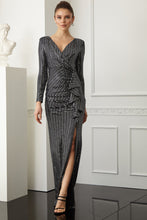 Load image into Gallery viewer, Silver sequined long sleeve maxi dress