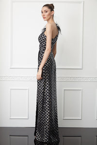 Print sequined crepe single sleeve maxi dress