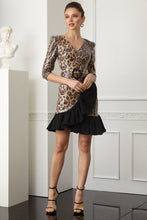Load image into Gallery viewer, Leopard sequined long sleeve mini dress