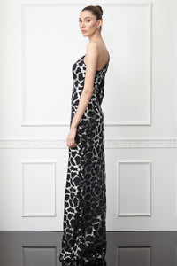 Print Y62 sequined crepe single sleeve maxi dress