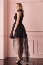 Load image into Gallery viewer, Black tulle sleeveless mini dress