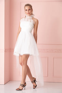 White tulle sleeveless mini dress