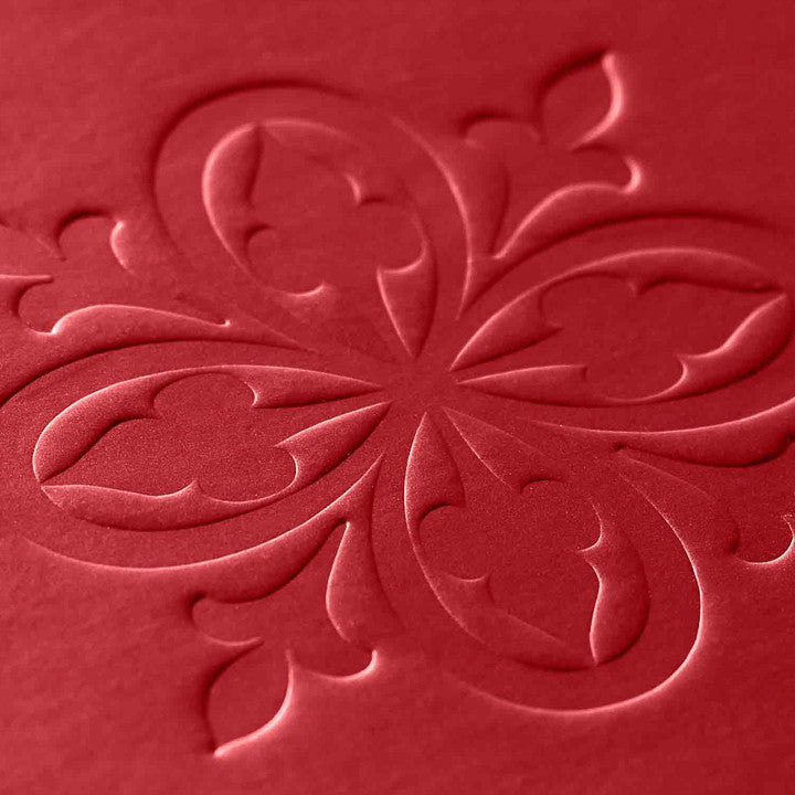 Custom Debossed Logo onto Red Pearl Paper