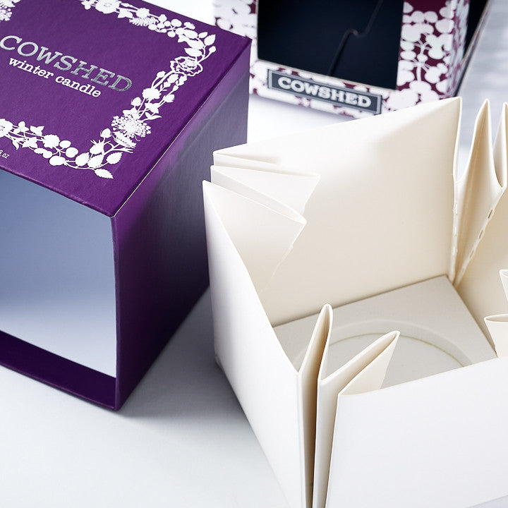 Folding Boxboard Candle Box Base with EVA Foam Insert and Rigid Lift Off Lid