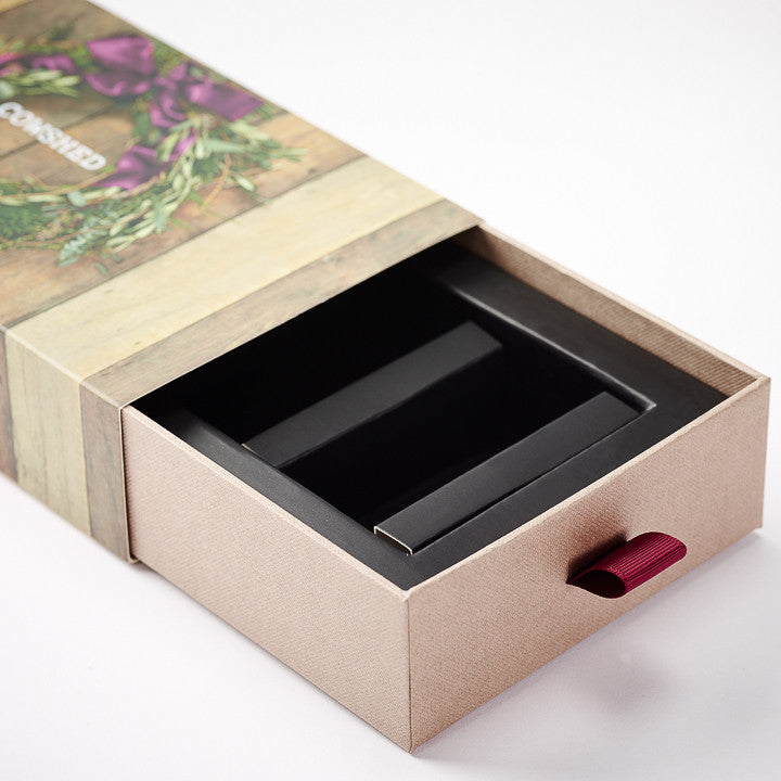 Custom Printed CMYK Outside Card Sleeve With Rigid Board Tray Covered In Textured Paper