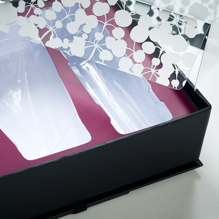 Rigid Gift Box with Clear Vacuum Formed Tray, Die Cut Overlay Card and Drop In Acetate Lid Printed Silver