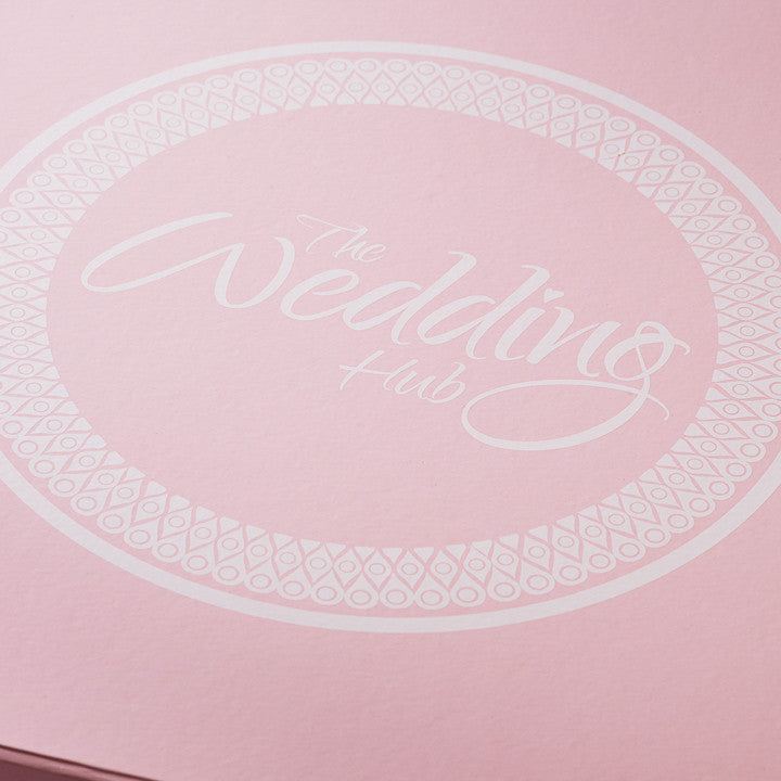 Custom Printed White Logo to Lid of Pale Pink Folding Gift Box from Foldabox UK