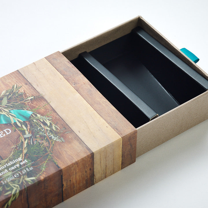 Sleeve & Tray Gift Box: Ribbon Loop, Custom Insert to Hold Tubes