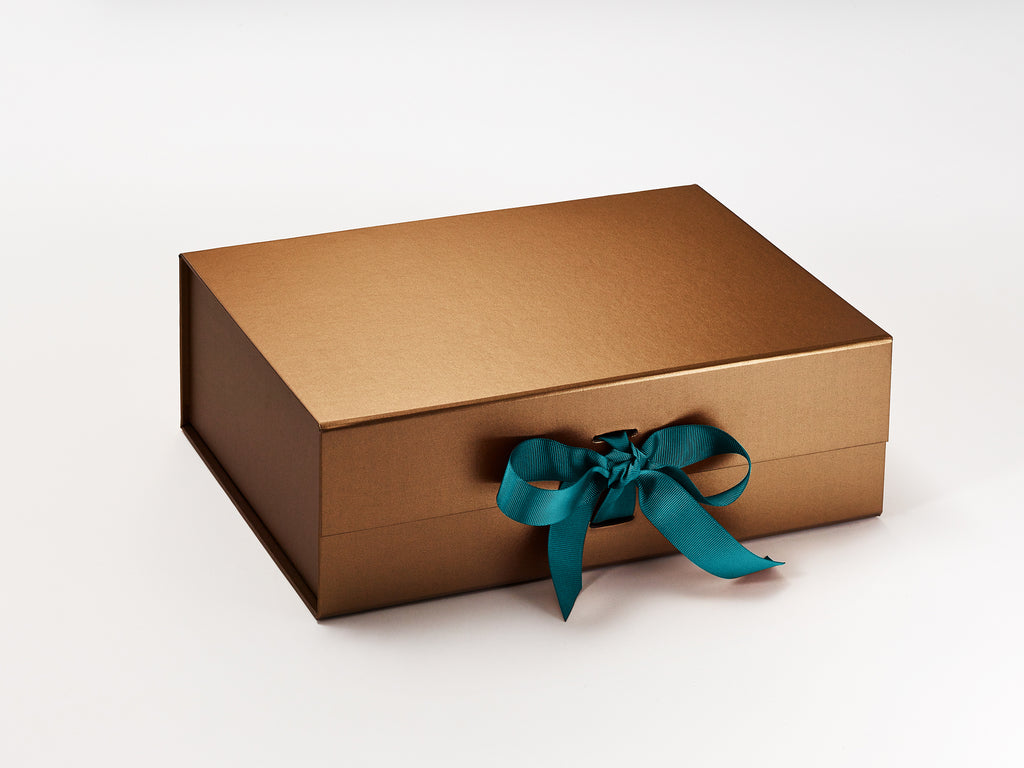 Copper A4 Gift Box with Misty Turquoise Ribbon