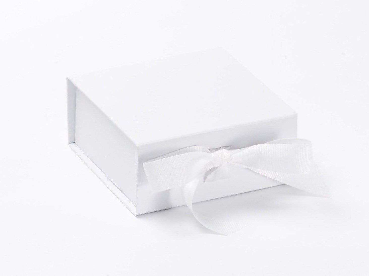 White Small Folding Gift Box with Fixed Ribbon Ties