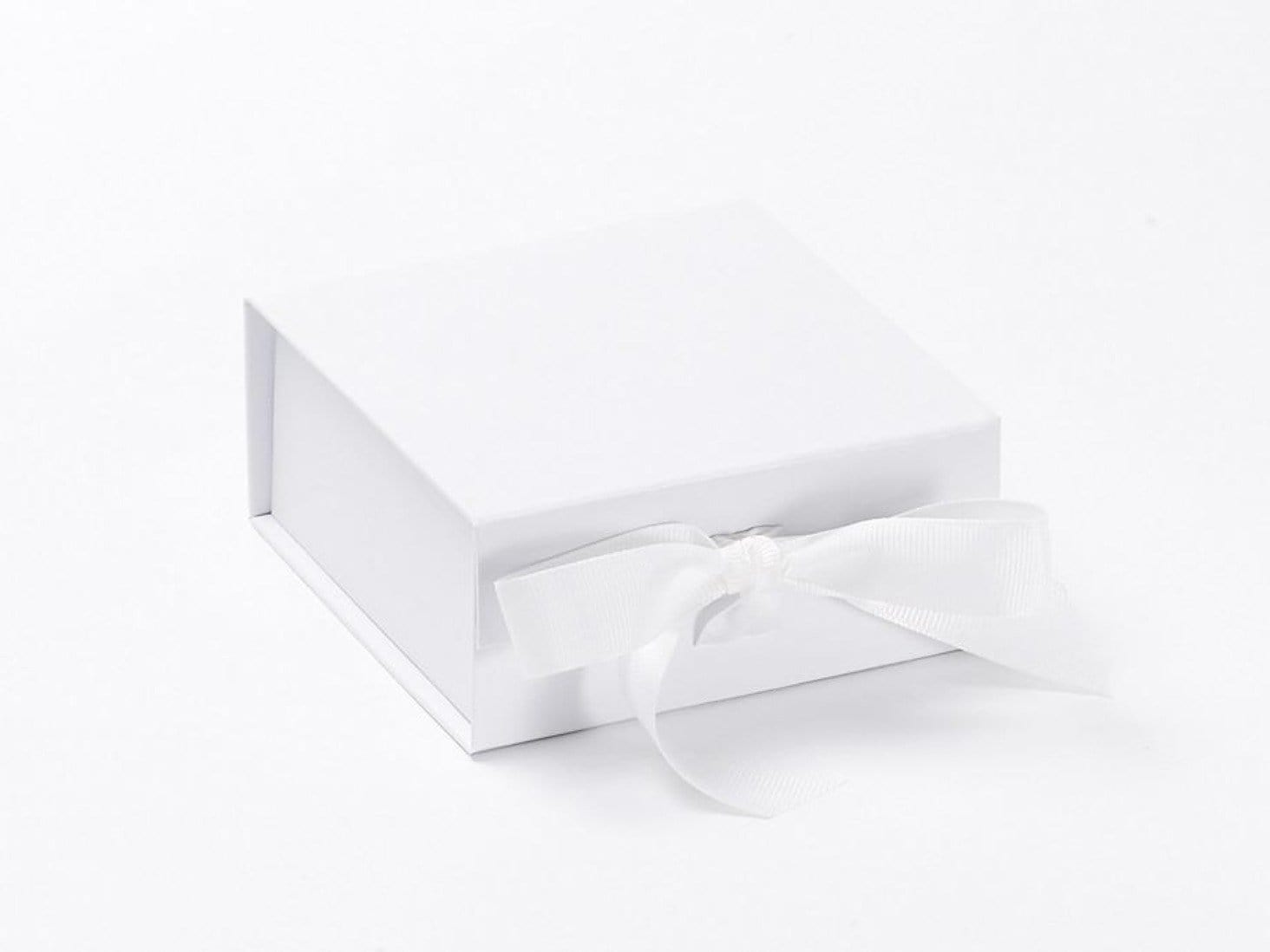 Small White Folding Gift Box with fixed ribbon ties Sample