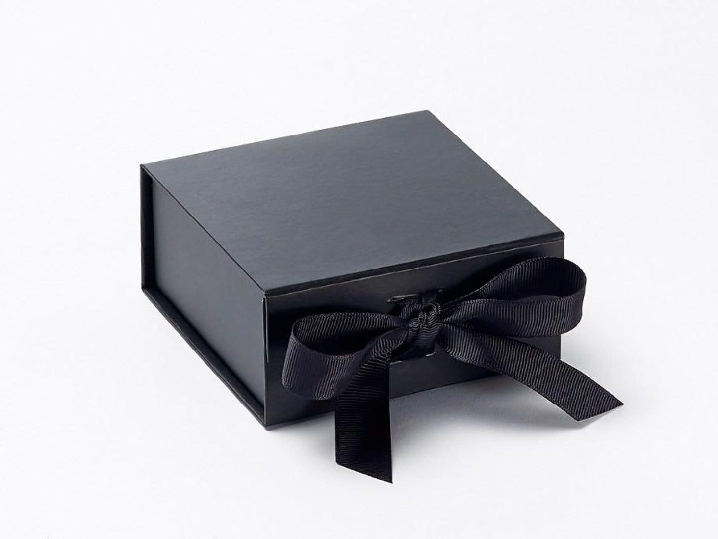 Small Black Gift Box with grosgrain ribbon ties from Foldabox UK