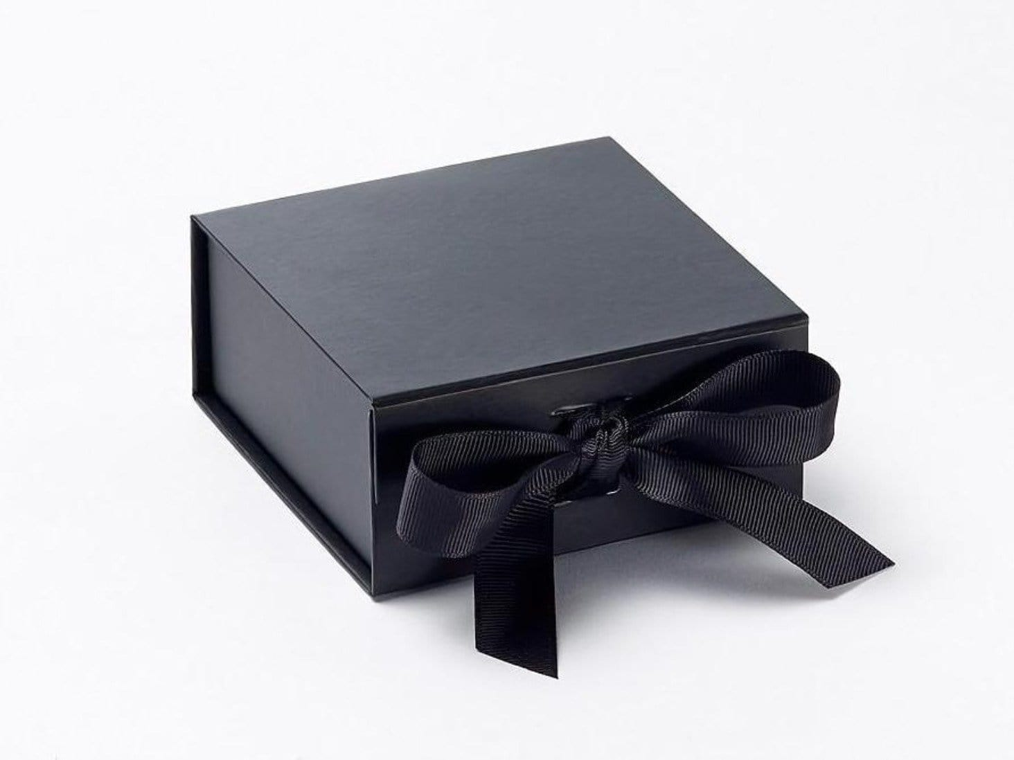 Small Black Folding Gift Boxes with Fixed Ribbon Ties
