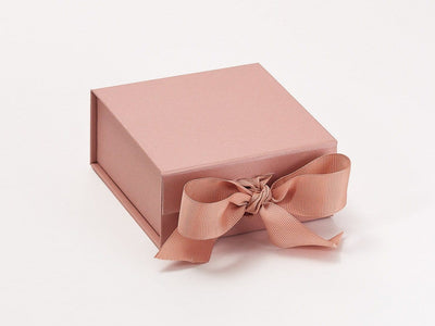 Small Rose Gold Gift Box Sample with Ribbon Ties