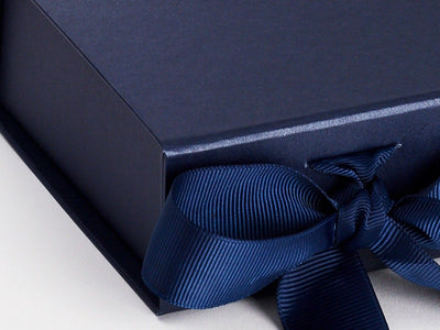 Navy Blue Small Folding Gift Box Ribbon Detail