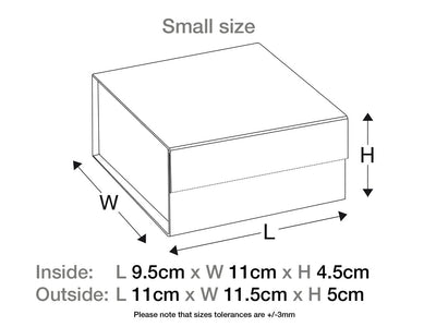 Small Navy Blue Folding Gift Box Assembled Size Line Drawing - Foldabox