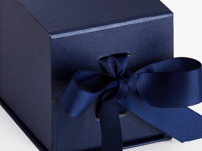 Navy Blue Small Cube Folding Gift Box Ribbon Detail