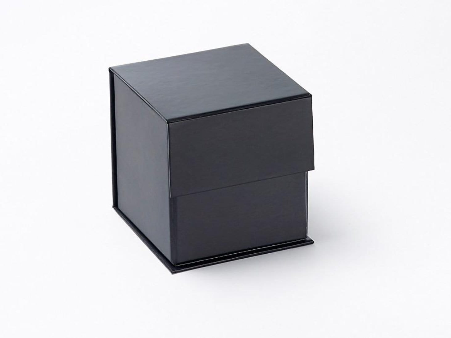 Small Black Cube Folding Gift Box Ideal for Candle Packaging