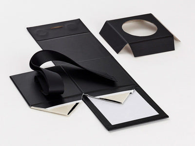 Black Small Cube Gift Box with Changeable Ribbon and Insert