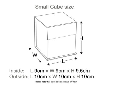 Small Black Cube Gift Box Assembled Size