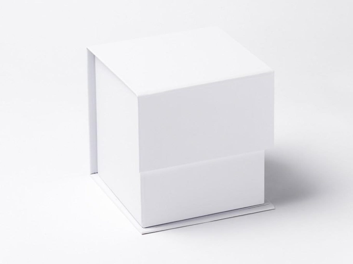 "White Large 5"" Cube Folding Gift Box for Candle Packaging"