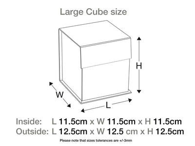 Black Large Cube Gift Box Assembled Size