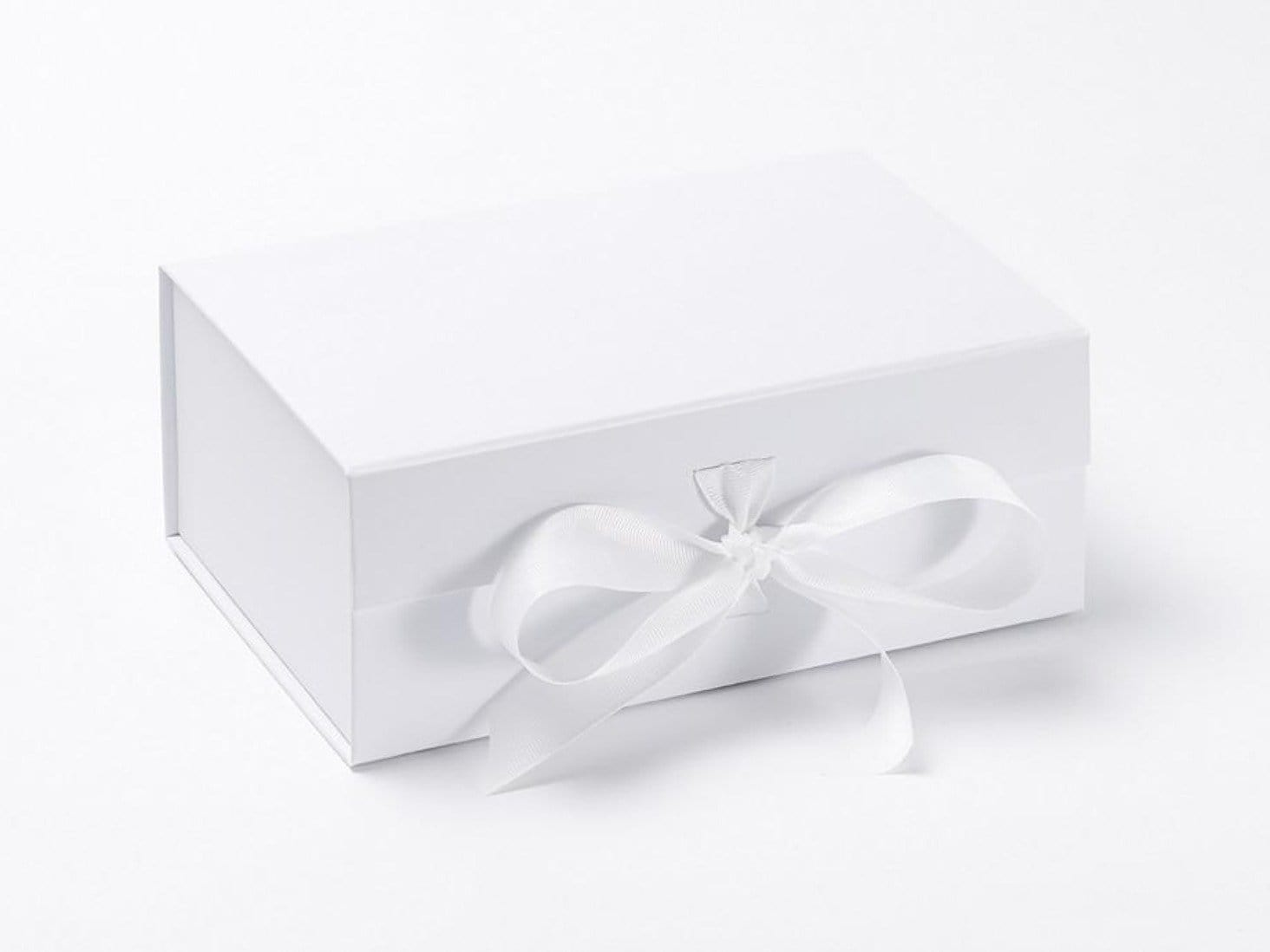 White A5 Deep Collapsible Gift Box sample with fixed ribbon ties
