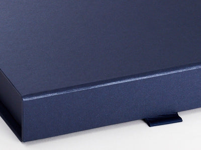 Navy Blue A5 Shallow Gift Box Front Ribbon Tab Detail