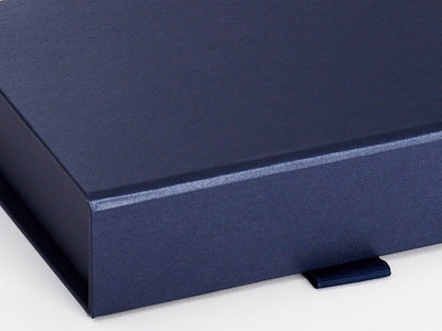 Navy Blue A6 Shallow Folding Gift Box Ribbon Detail