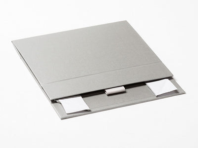 Silver A6 Shallow Gift Box Supplied Flat with Ribbon Tab
