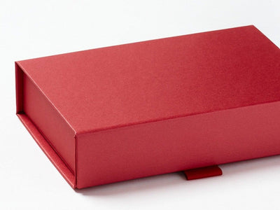 Red A6 Shallow Gift Box Front Flap Detail