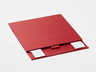 Red A6 Shallow Gift Box Supplied Flat with Ribbon Tab