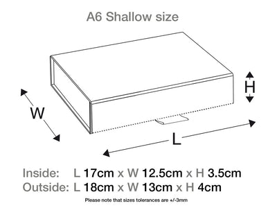 White A6 Shallow Gift Box Assembled Size