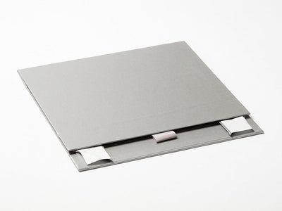 Silver A5 Shallow Guft Box Sample Supplied Flat with Ribbon Tab