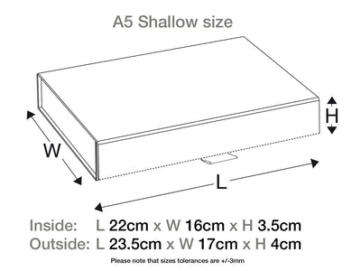 Black A5 Shallow Gift Box Assembled Size