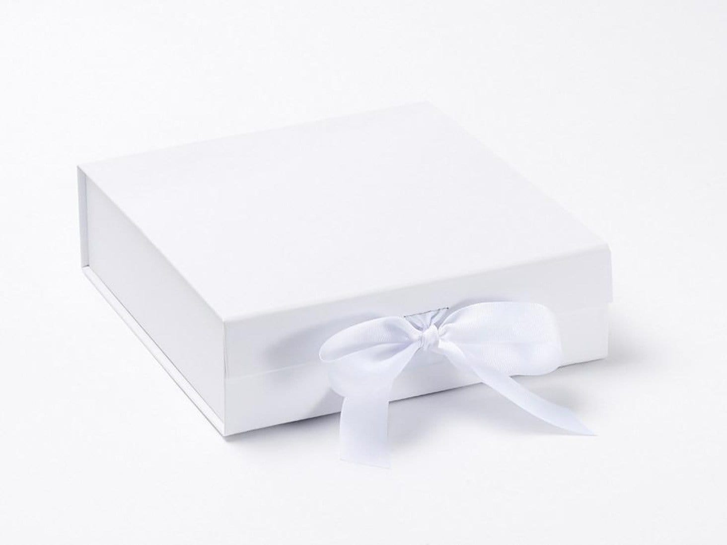 Medium White Folding Gift Box or Keepsake Box with fixed grosgrain ribbon