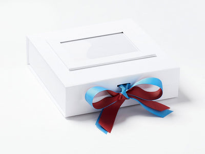 White Photo Frame on White Medium Gift  Box with Cinnabar and Porcelain Blue Ribbon