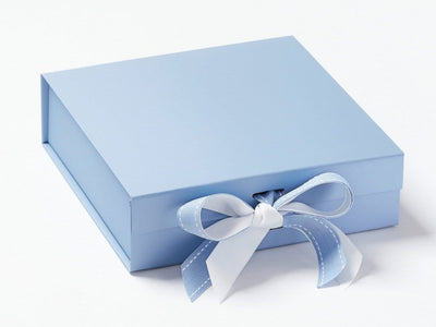 Pale Blue Guft Box Featured with White Ribbon Double Bow