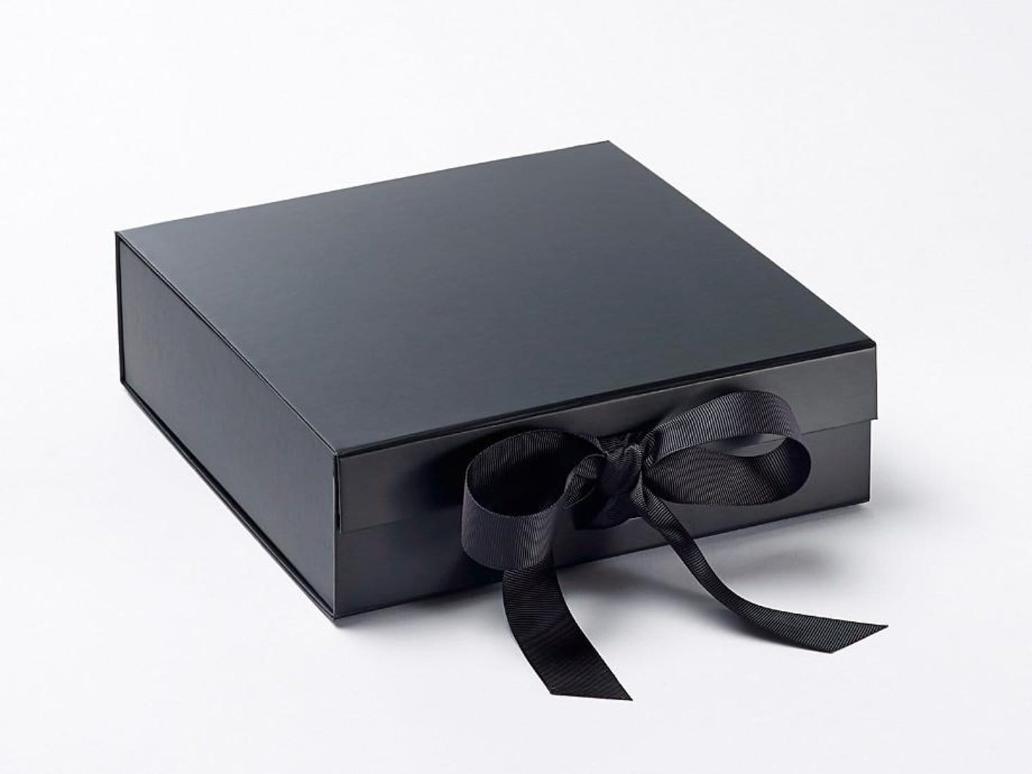 Black gift presentation hamper box with snap shut closure and ribbon