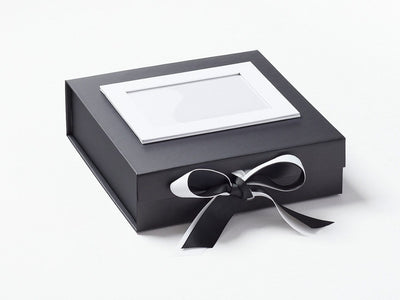 Black Medium Gift Box with White Double Ribbon Bow and White Photo Frame