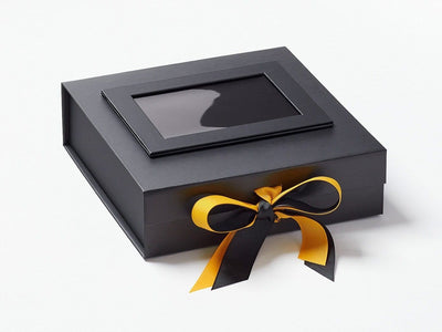 Black Photo Frame on Lid of Black Medium Gift Box with Yellow Gold Ribbon